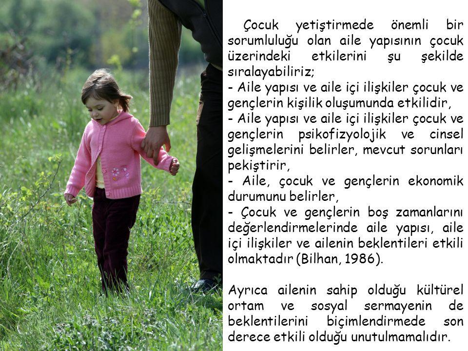 Çocuk yetiştirmede önemli bir sorumluluğu olan aile yapısının çocuk üzerindeki etkilerini şu şekilde sıralayabiliriz; - Aile yapısı ve aile içi ilişki