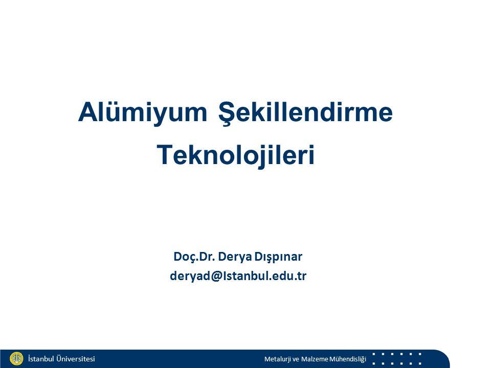Materials and Chemistry İstanbul Üniversitesi Metalurji ve Malzeme Mühendisliği İstanbul Üniversitesi Metalurji ve Malzeme Mühendisliği Amerikan İngilizcesi: Aluminum İngiliz İngilizcesi: Aluminium Türkçe Aluminyum / Alüminyum Latince Alumin: acı tuz