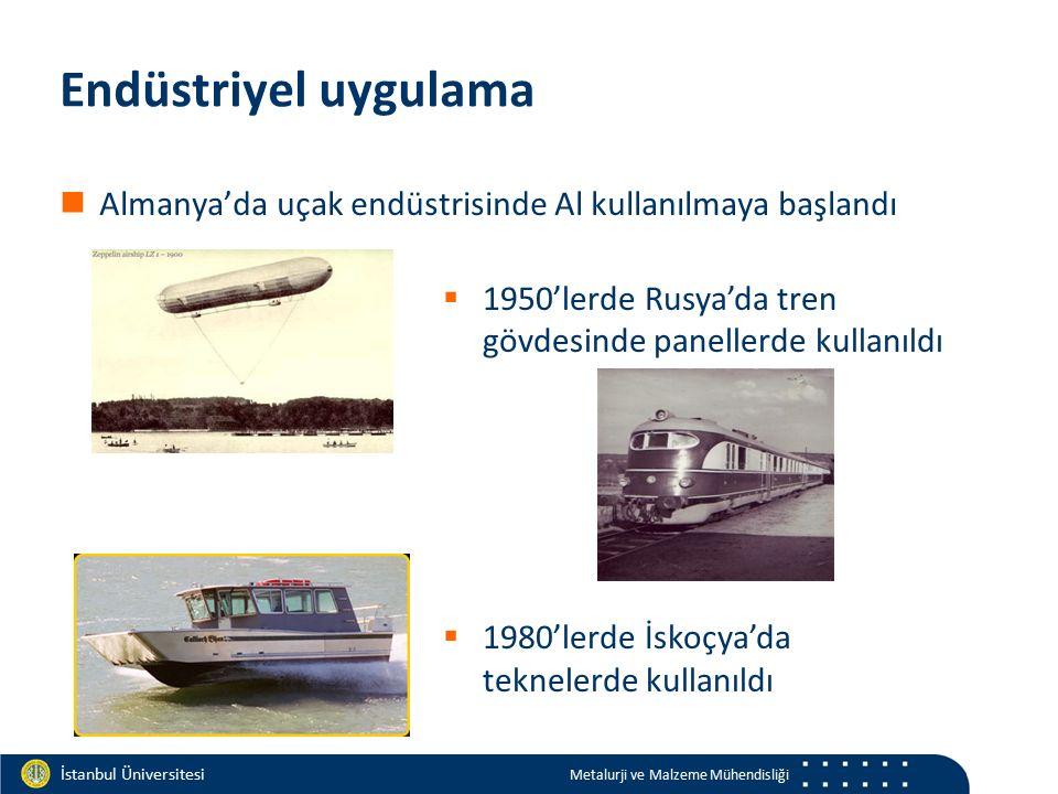 Materials and Chemistry İstanbul Üniversitesi Metalurji ve Malzeme Mühendisliği İstanbul Üniversitesi Metalurji ve Malzeme Mühendisliği Endüstriyel uygulama Almanya'da uçak endüstrisinde Al kullanılmaya başlandı  1950'lerde Rusya'da tren gövdesinde panellerde kullanıldı  1980'lerde İskoçya'da teknelerde kullanıldı