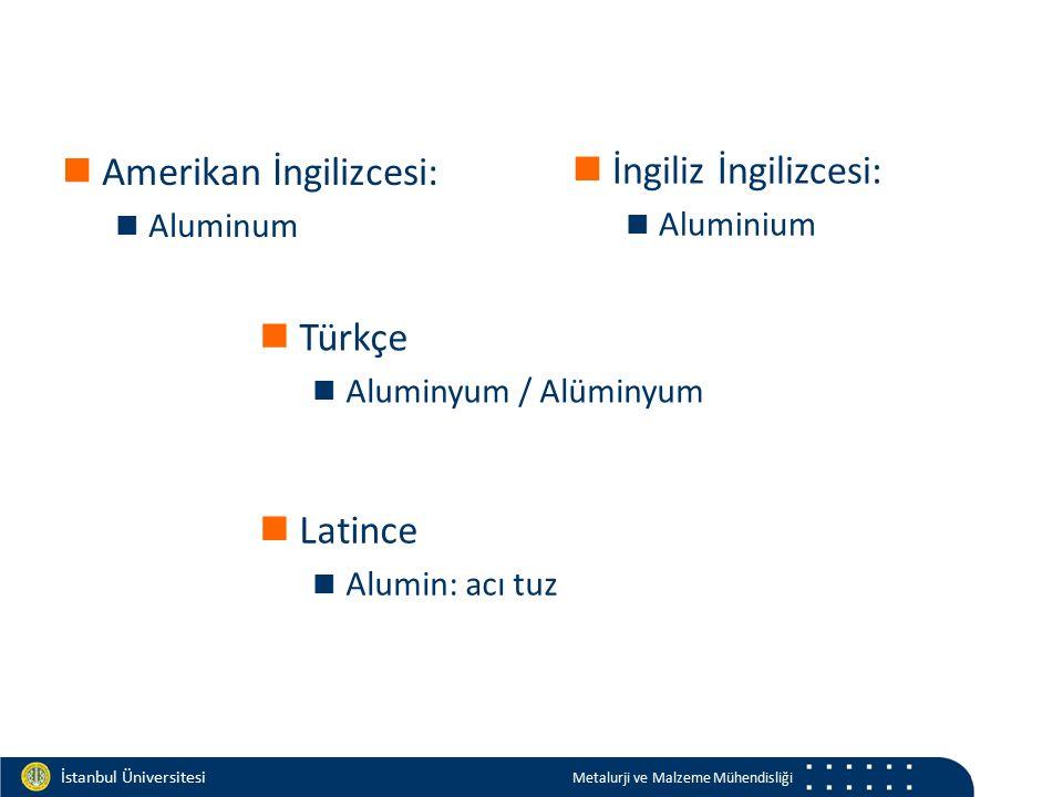 Materials and Chemistry İstanbul Üniversitesi Metalurji ve Malzeme Mühendisliği İstanbul Üniversitesi Metalurji ve Malzeme Mühendisliği Atom numarası13 Atom ağırlığı26,9815386(8) g/mol Yoğunluk2700 kg/m³ Ergime noktası660,32 °C Kaynama noktası2519 °C Ergime ısısı10,71 kJ/mol Isı kapasitesi24,2 (25 °C) J/(mol·K) Kristal yapısıYüzey merkezli kübik Elektrik direnci26,50 nΩ·m (20°C de) Isıl iletkenlik237 W/(m·K) Isıl genleşme23,1 µm/(m·K) (25°C de)