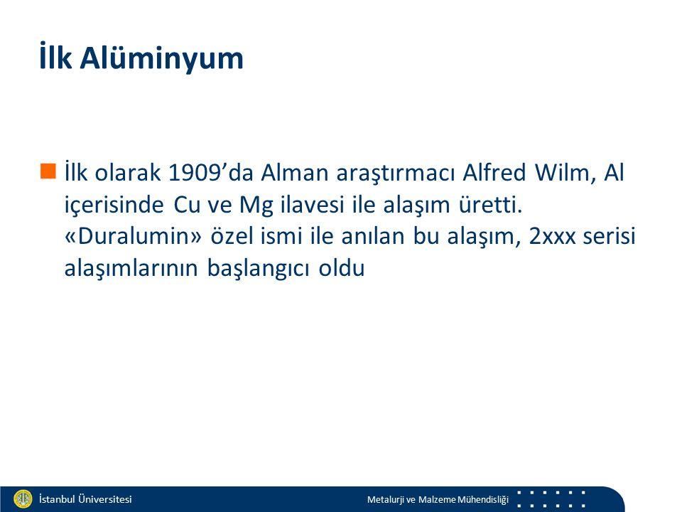 Materials and Chemistry İstanbul Üniversitesi Metalurji ve Malzeme Mühendisliği İstanbul Üniversitesi Metalurji ve Malzeme Mühendisliği İlk Alüminyum İlk olarak 1909'da Alman araştırmacı Alfred Wilm, Al içerisinde Cu ve Mg ilavesi ile alaşım üretti.