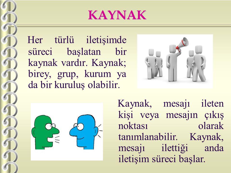 KAYNAK H er türlü iletişimde süreci başlatan bir kaynak vardır. Kaynak; birey, grup, kurum ya da bir kuruluş olabilir. Kaynak, mesajı ileten kişi veya