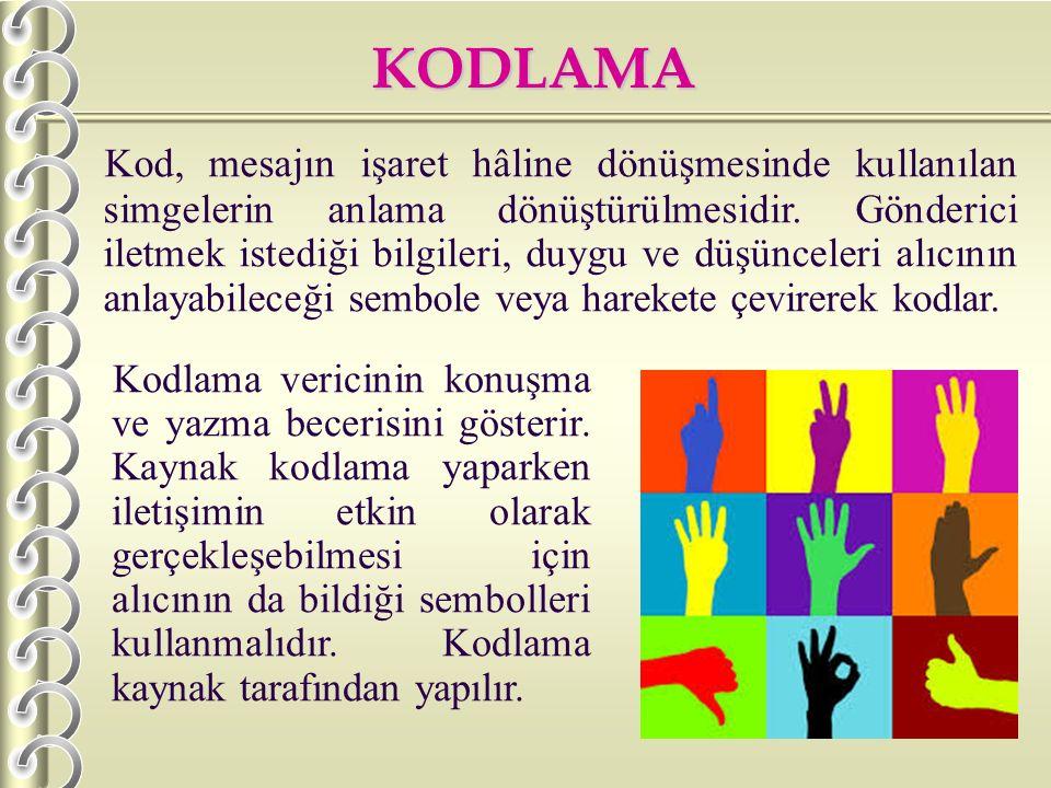 KODLAMA K od, mesajın işaret hâline dönüşmesinde kullanılan simgelerin anlama dönüştürülmesidir. Gönderici iletmek istediği bilgileri, duygu ve düşünc