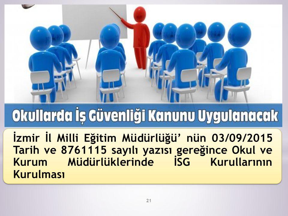 21 İzmir İl Milli Eğitim Müdürlüğü' nün 03/09/2015 Tarih ve 8761115 sayılı yazısı gereğince Okul ve Kurum Müdürlüklerinde İSG Kurullarının Kurulması