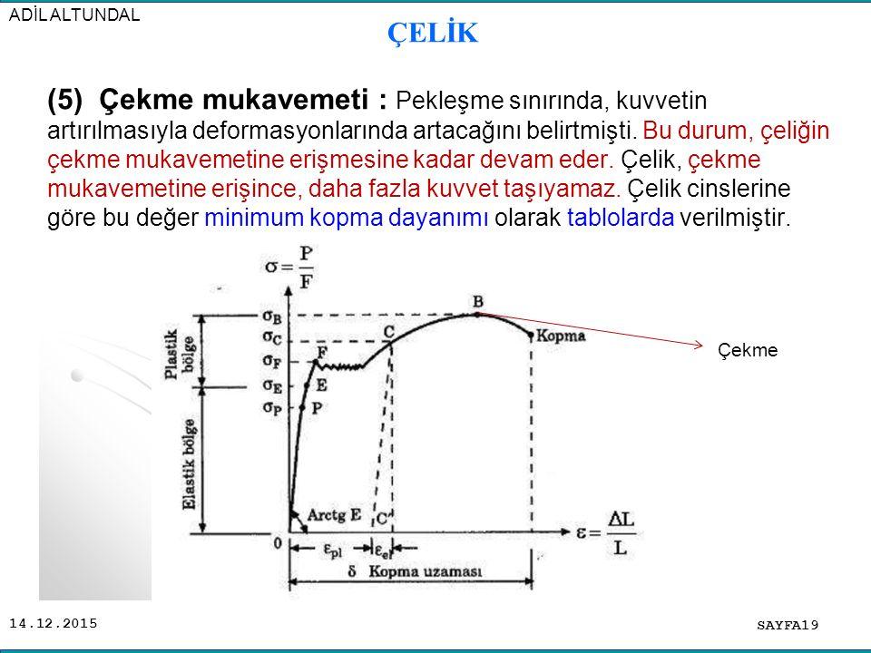 14.12.2015 (5) Çekme mukavemeti : Pekleşme sınırında, kuvvetin artırılmasıyla deformasyonlarında artacağını belirtmişti. Bu durum, çeliğin çekme mukav