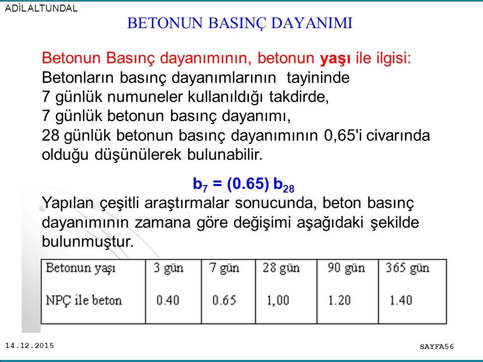14.12.2015 SAYFA56 ADİL ALTUNDAL Betonun Basınç dayanımının, betonun yaşı ile ilgisi: Betonların basınç dayanımlarının tayininde 7 günlük numuneler ku
