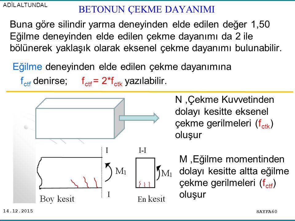 14.12.2015 Buna göre silindir yarma deneyinden elde edilen değer 1,50 Eğilme deneyinden elde edilen çekme dayanımı da 2 ile bölünerek yaklaşık olarak