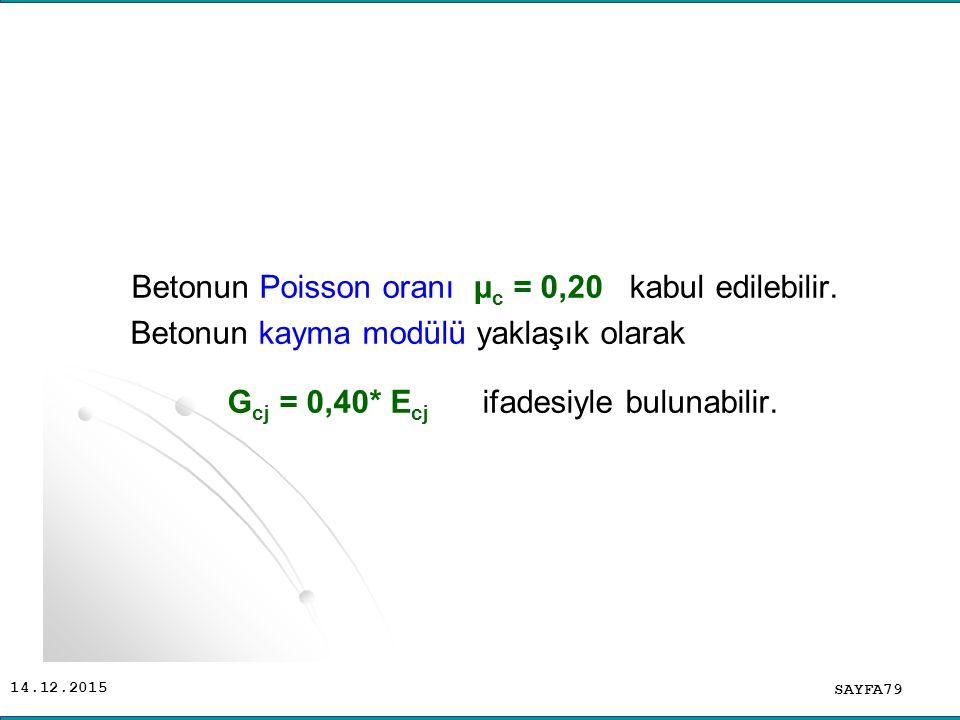 14.12.2015 Betonun Poisson oranı μ c = 0,20 kabul edilebilir. Betonun kayma modülü yaklaşık olarak G cj = 0,40* E cj ifadesiyle bulunabilir. SAYFA79