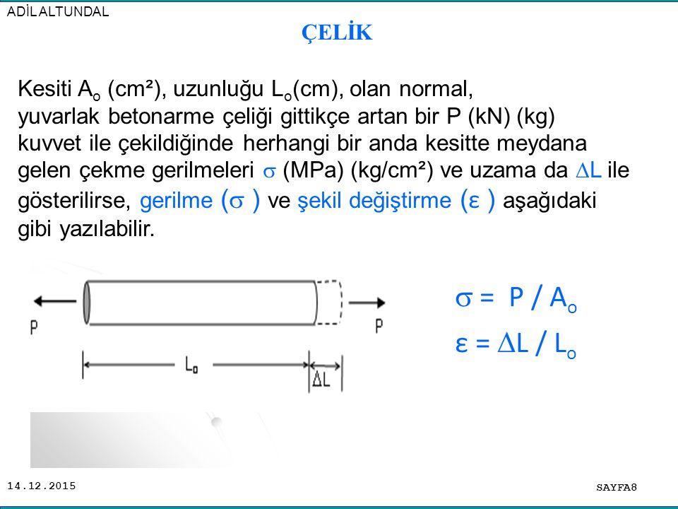14.12.2015 SAYFA8 ADİL ALTUNDAL  = P / A o ε =  L / L o Kesiti A o (cm²), uzunluğu L o (cm), olan normal, yuvarlak betonarme çeliği gittikçe artan b