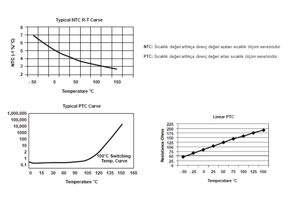 NTC: Sıcaklık değeri arttıkça direnç değeri azalan sıcaklık ölçüm sensörüdür. PTC: Sıcaklık değeri arttıkça direnç değeri artan sıcaklık ölçüm sensörü