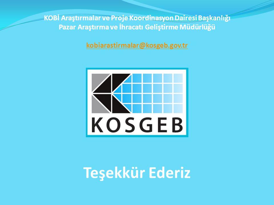 Teşekkür Ederiz KOBİ Araştırmalar ve Proje Koordinasyon Dairesi Başkanlığı Pazar Araştırma ve İhracatı Geliştirme Müdürlüğü kobiarastirmalar@kosgeb.gov.tr