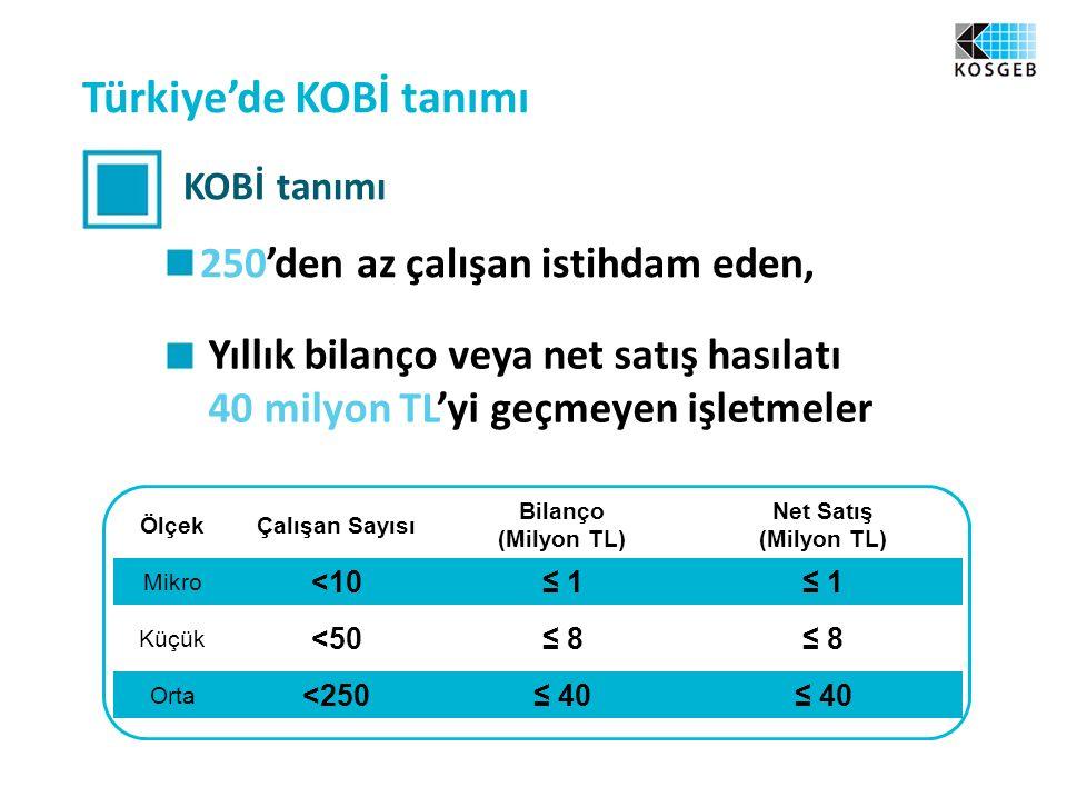 Türkiye'de KOBİ tanımı KOBİ tanımı 250'den az çalışan istihdam eden, Yıllık bilanço veya net satış hasılatı 40 milyon TL'yi geçmeyen işletmeler ÖlçekÇalışan Sayısı Bilanço (Milyon TL) Net Satış (Milyon TL) Mikro <10≤ 1 Küçük <50≤ 8 Orta <250≤ 40