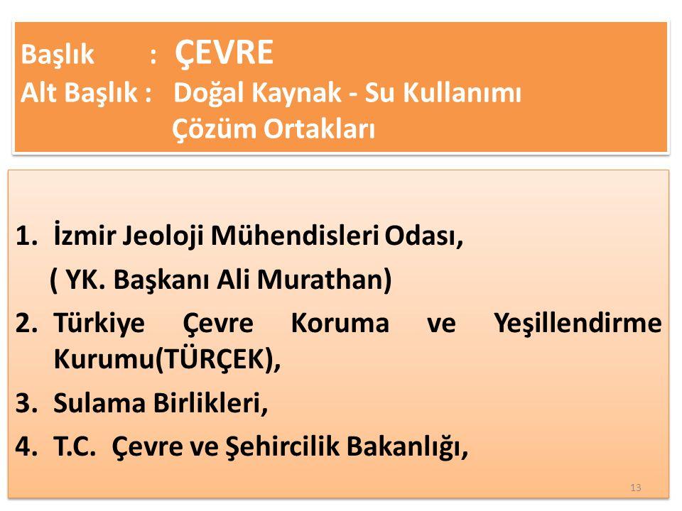 1.İzmir Jeoloji Mühendisleri Odası, ( YK.