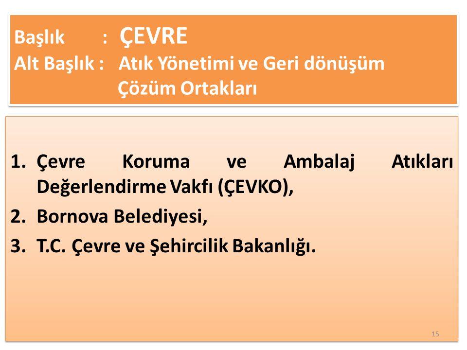 1.Çevre Koruma ve Ambalaj Atıkları Değerlendirme Vakfı (ÇEVKO), 2.Bornova Belediyesi, 3.T.C.