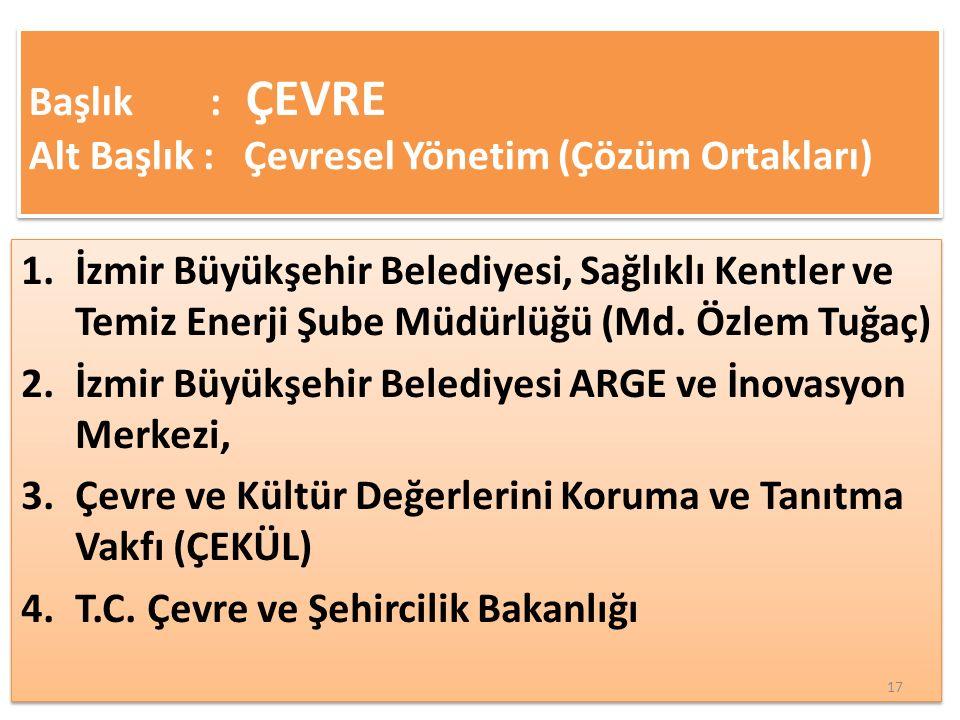 1.İzmir Büyükşehir Belediyesi, Sağlıklı Kentler ve Temiz Enerji Şube Müdürlüğü (Md.