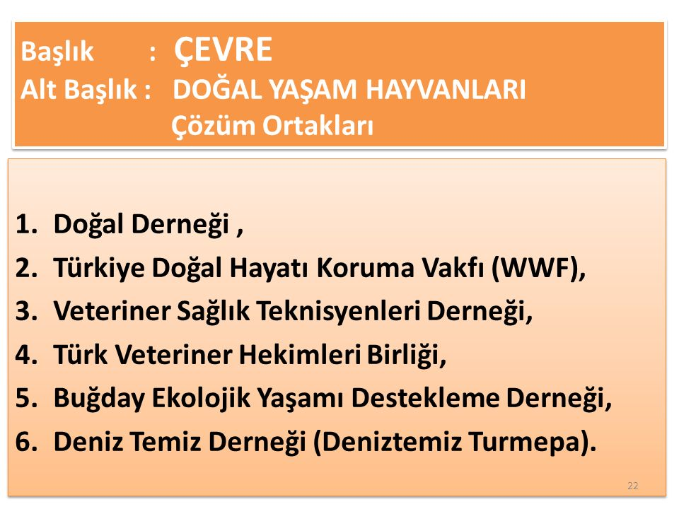 1.Doğal Derneği, 2.Türkiye Doğal Hayatı Koruma Vakfı (WWF), 3.Veteriner Sağlık Teknisyenleri Derneği, 4.Türk Veteriner Hekimleri Birliği, 5.Buğday Ekolojik Yaşamı Destekleme Derneği, 6.Deniz Temiz Derneği (Deniztemiz Turmepa).