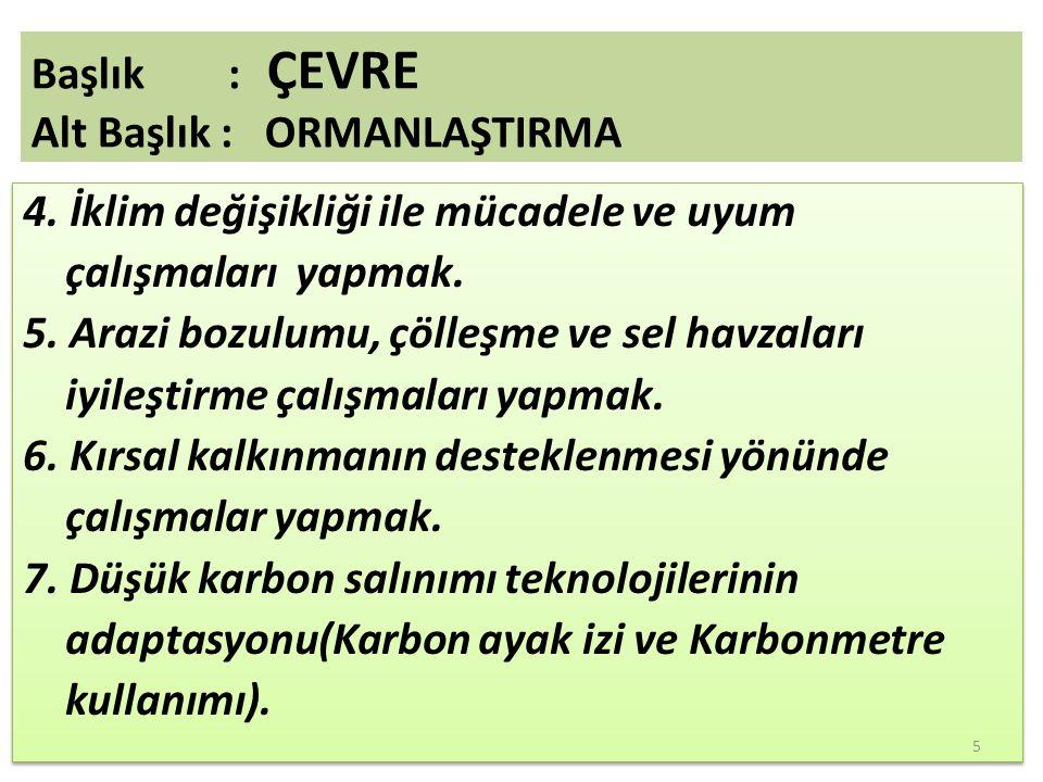 8.Odun dışında kalan orman ürünlerinin kullanımının teşviki( Mantar, defne, kekik vb.) 9.