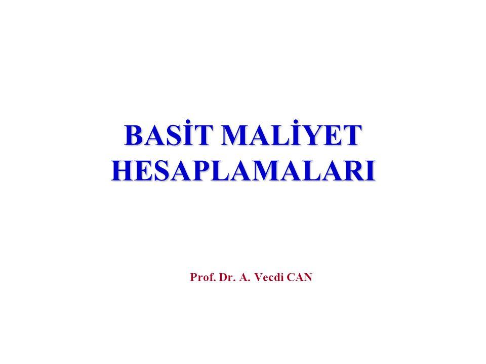 BASİT MALİYET HESAPLAMALARI Prof. Dr. A. Vecdi CAN