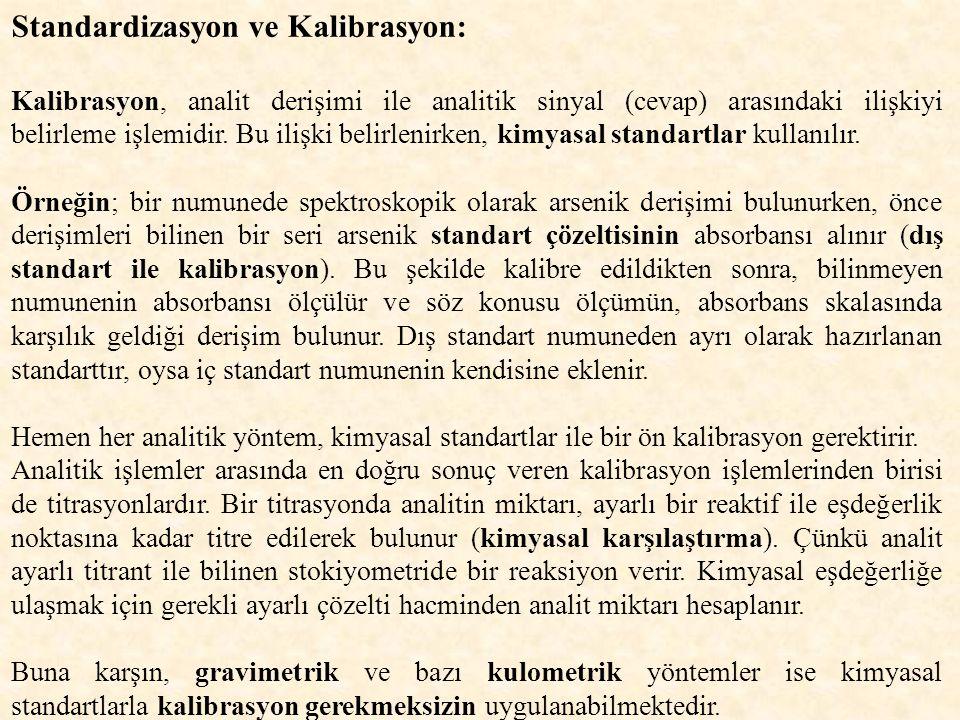 Standardizasyon ve Kalibrasyon: Kalibrasyon, analit derişimi ile analitik sinyal (cevap) arasındaki ilişkiyi belirleme işlemidir.