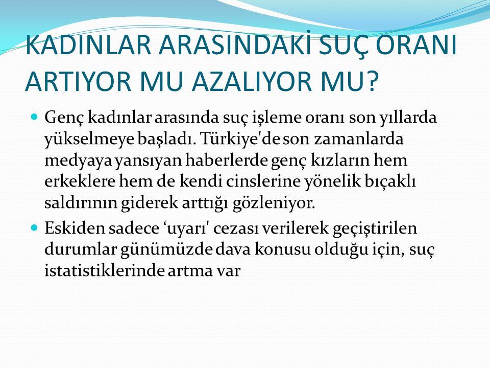 KADINLAR ARASINDAKİ SUÇ ORANI ARTIYOR MU AZALIYOR MU? Genç kadınlar arasında suç işleme oranı son yıllarda yükselmeye başladı. Türkiye'de son zamanlar