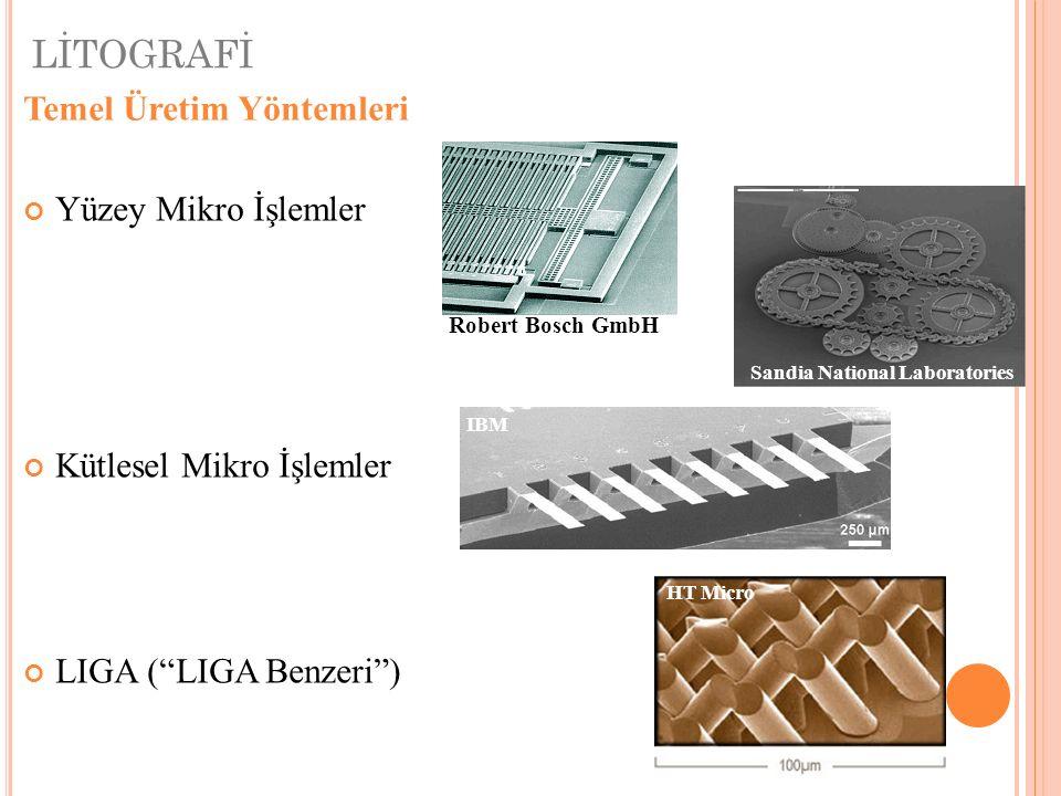 LİTOGRAFİ Yüzey Mikro İşlemler Kütlesel Mikro İşlemler LIGA ( LIGA Benzeri ) Robert Bosch GmbH IBM HT Micro Sandia National Laboratories Temel Üretim Yöntemleri