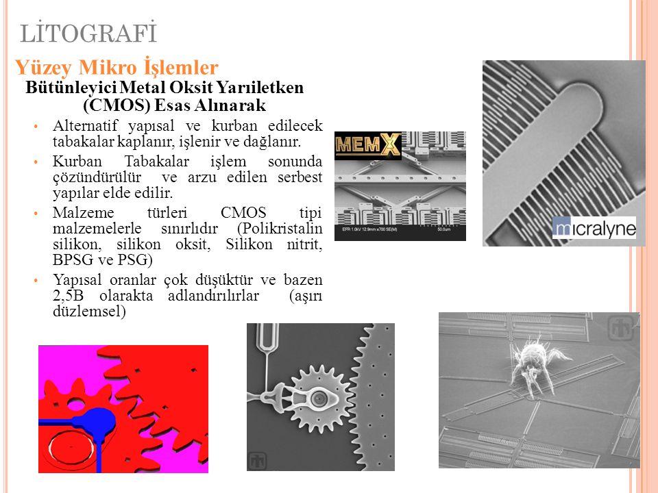 LİTOGRAFİ IBM HT Micro Sandia National Laboratories Yüzey Mikro İşlemler Bütünleyici Metal Oksit Yarıiletken (CMOS) Esas Alınarak Alternatif yapısal v
