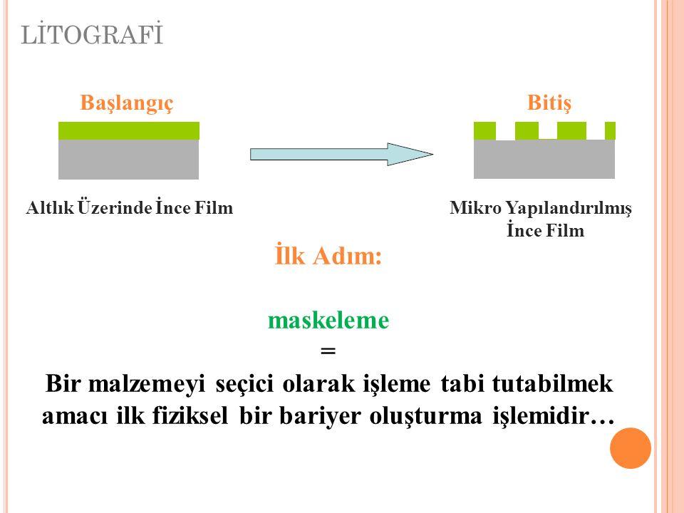 LİTOGRAFİ BaşlangıçBitiş Altlık Üzerinde İnce FilmMikro Yapılandırılmış İnce Film İlk Adım: maskeleme = Bir malzemeyi seçici olarak işleme tabi tutabi