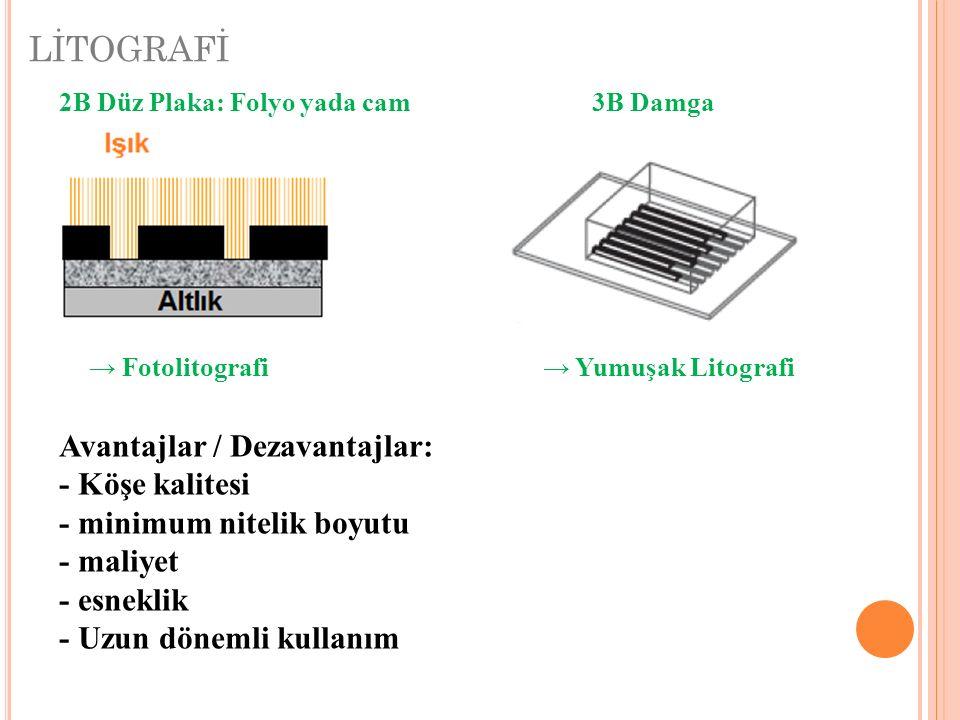 LİTOGRAFİ 2B Düz Plaka: Folyo yada cam3B Damga Avantajlar / Dezavantajlar: - Köşe kalitesi - minimum nitelik boyutu - maliyet - esneklik - Uzun döneml
