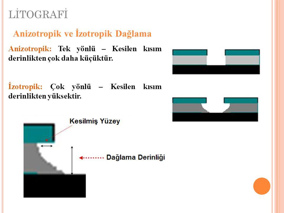 LİTOGRAFİ Anizotropik ve İzotropik Dağlama Anizotropik: Tek yönlü – Kesilen kısım derinlikten çok daha küçüktür.
