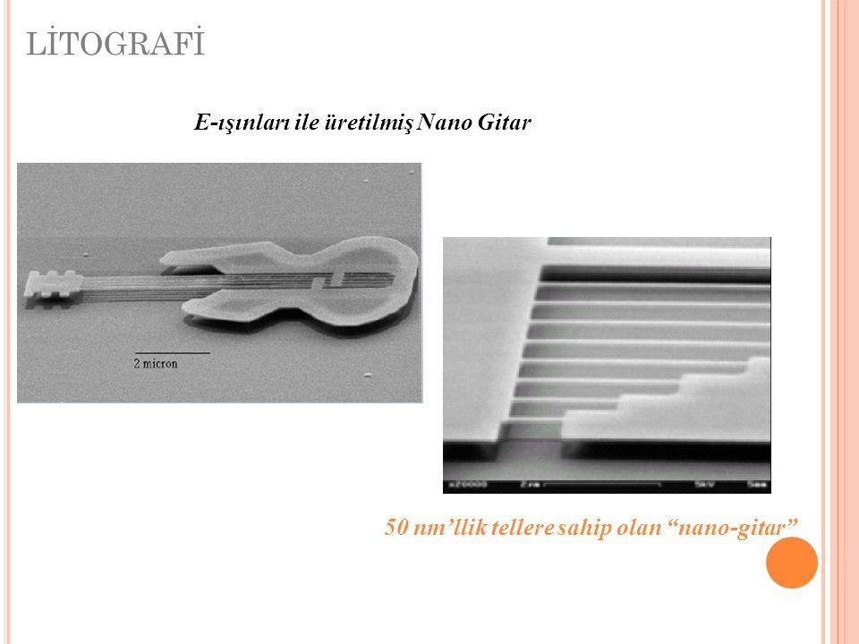 50 nm'llik tellere sahip olan nano-gitar E-ışınları ile üretilmiş Nano Gitar