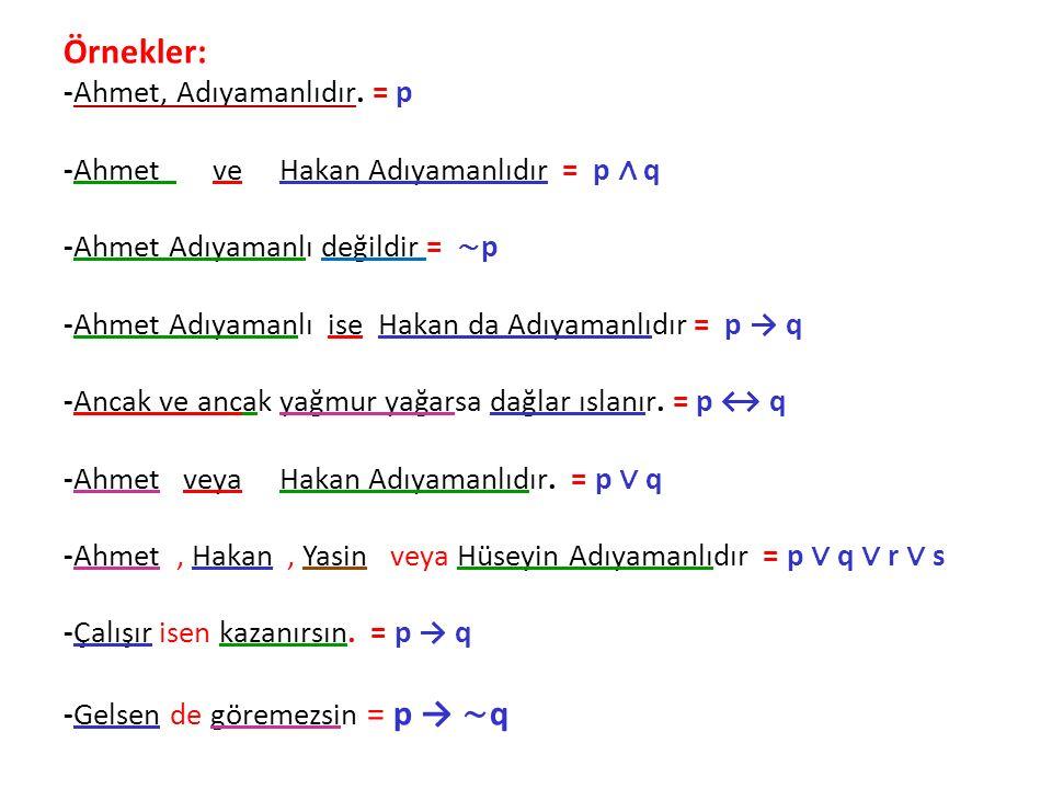 Örnekler: -Ahmet, Adıyamanlıdır. = p -Ahmet ve Hakan Adıyamanlıdır = p ∧ q -Ahmet Adıyamanlı değildir = ∼ p -Ahmet Adıyamanlı ise Hakan da Adıyamanlıd