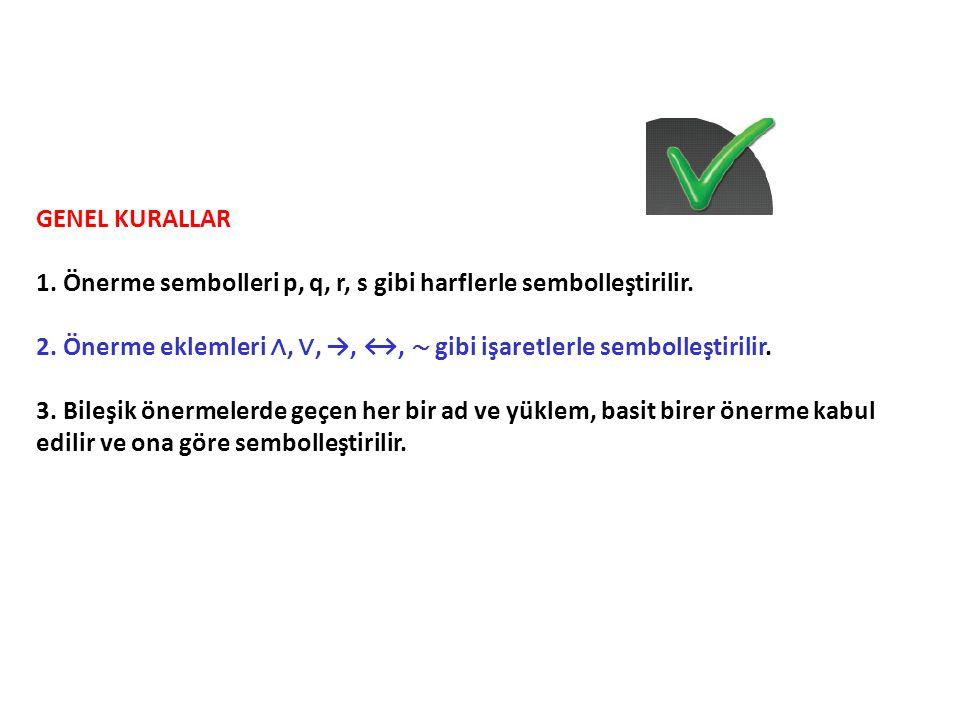 GENEL KURALLAR 1. Önerme sembolleri p, q, r, s gibi harflerle sembolleştirilir. 2. Önerme eklemleri ∧, ∨, →, ↔, ∼ gibi işaretlerle sembolleştirilir. 3