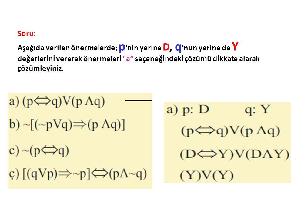 Soru: Aşağıda verilen önermelerde; p 'nin yerine D, q 'nun yerine de Y değerlerini vererek önermeleri