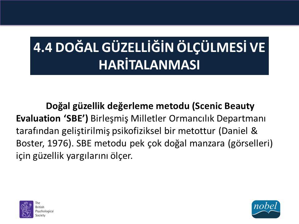 4.4 DOĞAL GÜZELLİĞİN ÖLÇÜLMESİ VE HARİTALANMASI Doğal güzellik değerleme metodu (Scenic Beauty Evaluation 'SBE') Birleşmiş Milletler Ormancılık Departmanı tarafından geliştirilmiş psikofiziksel bir metottur (Daniel & Boster, 1976).