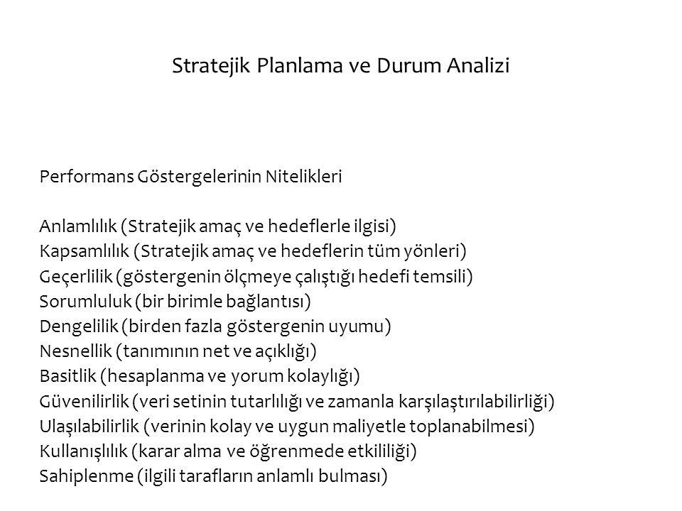 Stratejik Planlama ve Durum Analizi Performans Göstergelerinin Nitelikleri Anlamlılık (Stratejik amaç ve hedeflerle ilgisi) Kapsamlılık (Stratejik ama