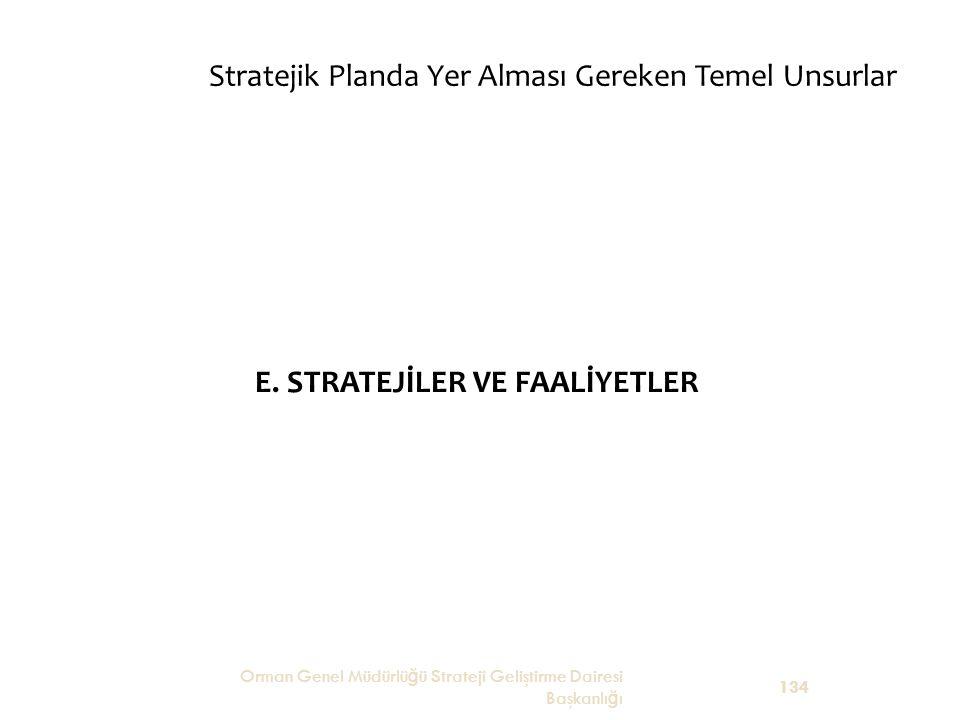 Stratejik Planda Yer Alması Gereken Temel Unsurlar E. STRATEJİLER VE FAALİYETLER Orman Genel Müdürlü ğ ü Strateji Geliştirme Dairesi Başkanlı ğ ı 134