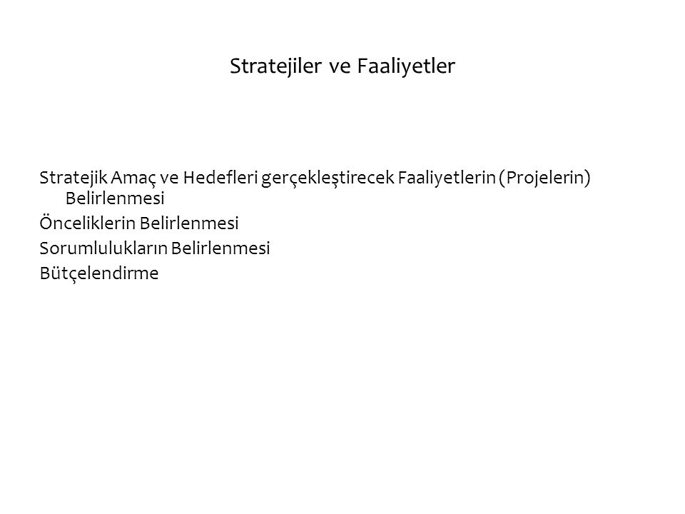 Stratejiler ve Faaliyetler Stratejik Amaç ve Hedefleri gerçekleştirecek Faaliyetlerin (Projelerin) Belirlenmesi Önceliklerin Belirlenmesi Sorumlulukla