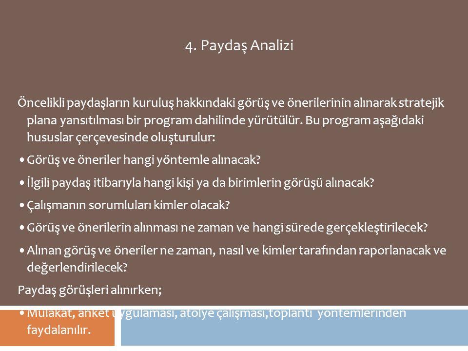 4. Paydaş Analizi Öncelikli paydaşların kuruluş hakkındaki görüş ve önerilerinin alınarak stratejik plana yansıtılması bir program dahilinde yürütülür