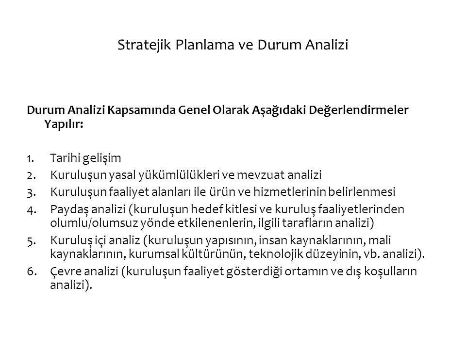 Stratejik Planlama ve Durum Analizi Durum Analizi Kapsamında Genel Olarak Aşağıdaki Değerlendirmeler Yapılır: 1.Tarihi gelişim 2.Kuruluşun yasal yüküm
