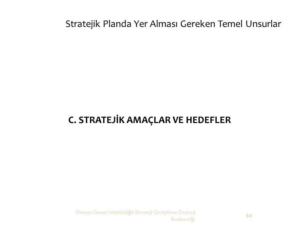 Stratejik Planda Yer Alması Gereken Temel Unsurlar C. STRATEJİK AMAÇLAR VE HEDEFLER Orman Genel Müdürlü ğ ü Strateji Geliştirme Dairesi Başkanlı ğ ı 8