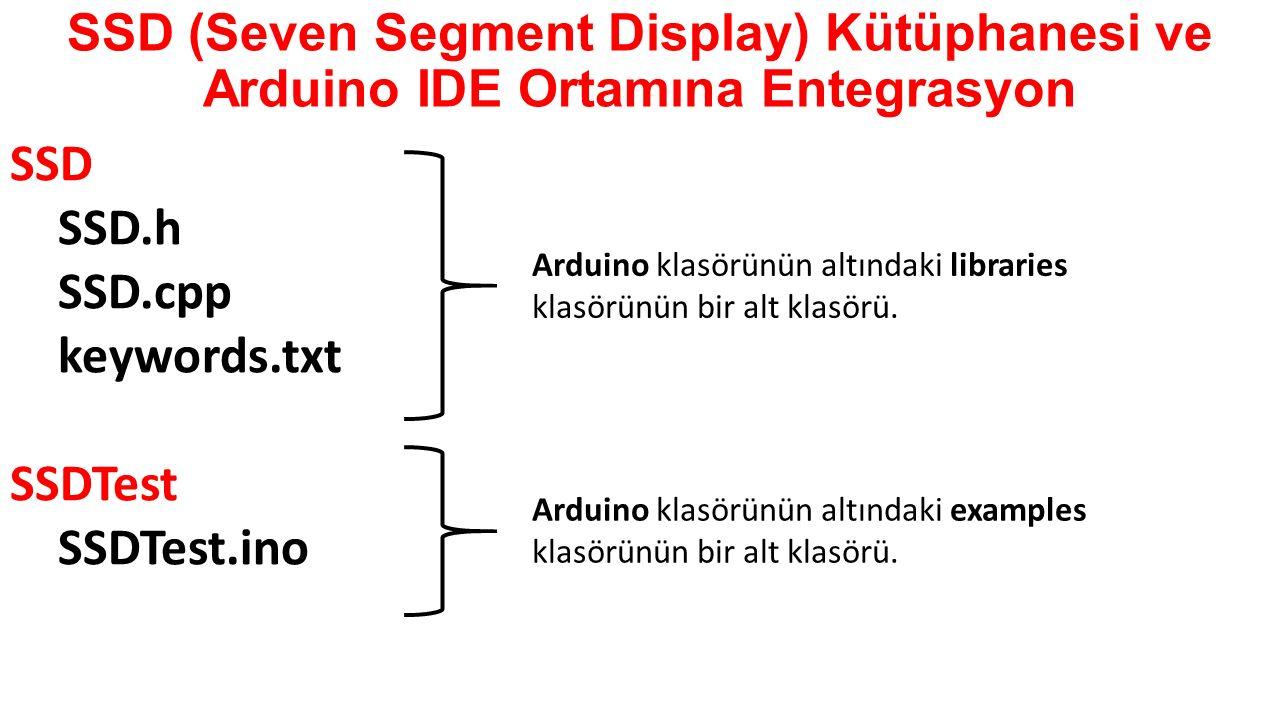 SSD (Seven Segment Display) Kütüphanesi ve Arduino IDE Ortamına Entegrasyon SSD SSD.h SSD.cpp keywords.txt SSDTest SSDTest.ino Arduino klasörünün altı