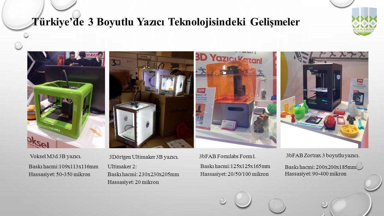 Türkiye'de 3 Boyutlu Yazıcı Teknolojisindeki Gelişmeler Baskı hacmi:109x113x116mm Hassasiyet: 50-350 mikron Voksel M3d 3B yazıcı. Ultimaker 2: Baskı h