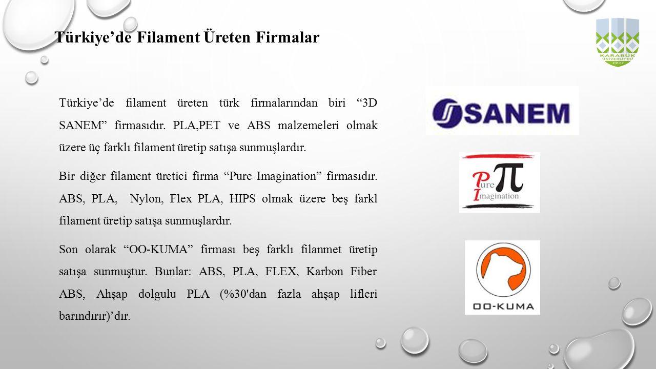"""Türkiye'de Filament Üreten Firmalar Türkiye'de filament üreten türk firmalarından biri """"3D SANEM"""" firmasıdır. PLA,PET ve ABS malzemeleri olmak üzere ü"""