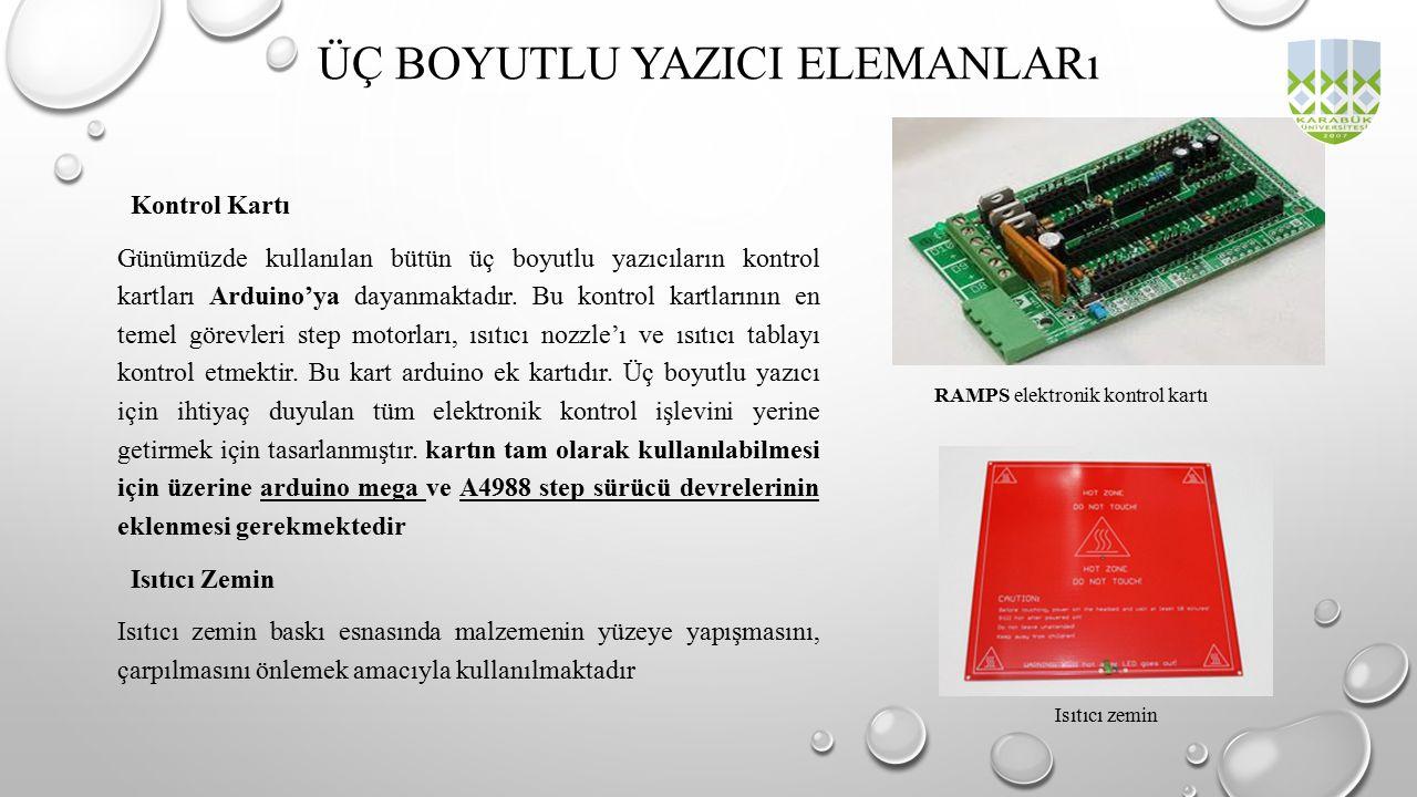 Kontrol Kartı Günümüzde kullanılan bütün üç boyutlu yazıcıların kontrol kartları Arduino'ya dayanmaktadır. Bu kontrol kartlarının en temel görevleri s