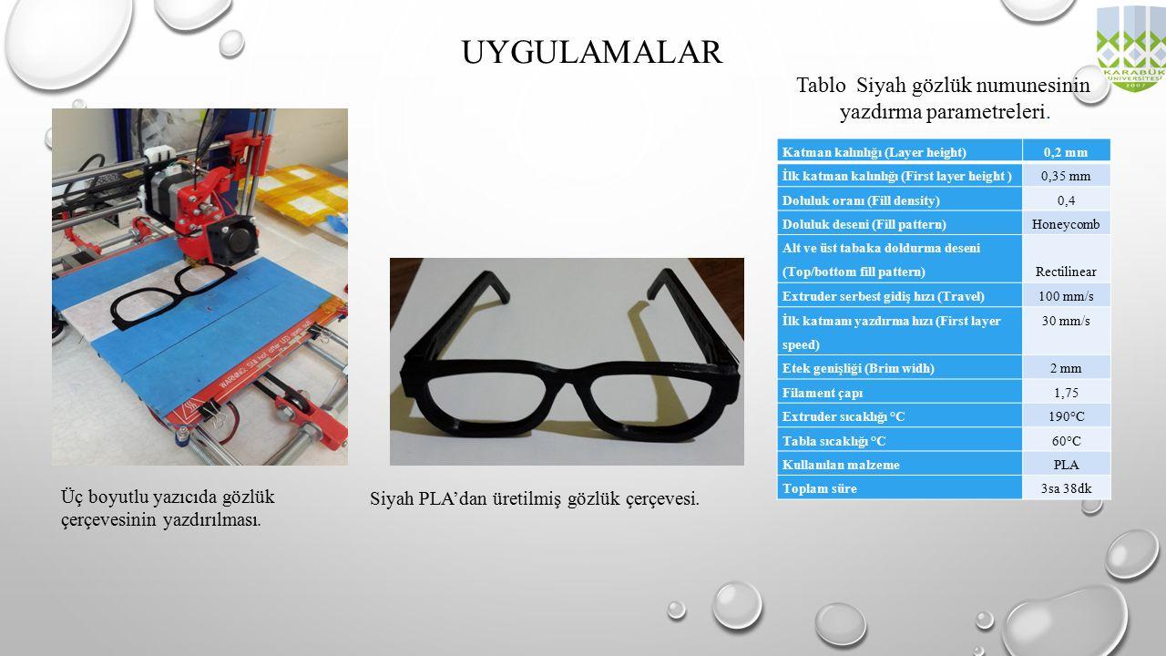 UYGULAMALAR Üç boyutlu yazıcıda gözlük çerçevesinin yazdırılması. Katman kalınlığı (Layer height)0,2 mm İlk katman kalınlığı (First layer height )0,35
