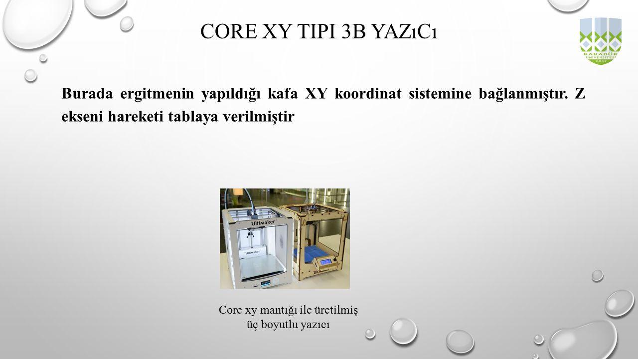 Burada ergitmenin yapıldığı kafa XY koordinat sistemine bağlanmıştır. Z ekseni hareketi tablaya verilmiştir CORE XY TIPI 3B YAZıCı Core xy mantığı ile