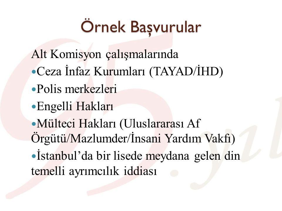 Örnek Başvurular Alt Komisyon çalışmalarında Ceza İnfaz Kurumları (TAYAD/İHD) Polis merkezleri Engelli Hakları Mülteci Hakları (Uluslararası Af Örgütü/Mazlumder/İnsani Yardım Vakfı) İstanbul'da bir lisede meydana gelen din temelli ayrımcılık iddiası