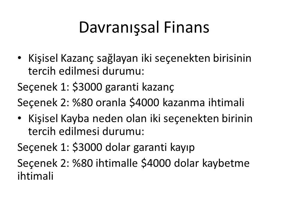 Davranışsal Finans Kişisel Kazanç sağlayan iki seçenekten birisinin tercih edilmesi durumu: Seçenek 1: $3000 garanti kazanç Seçenek 2: %80 oranla $400
