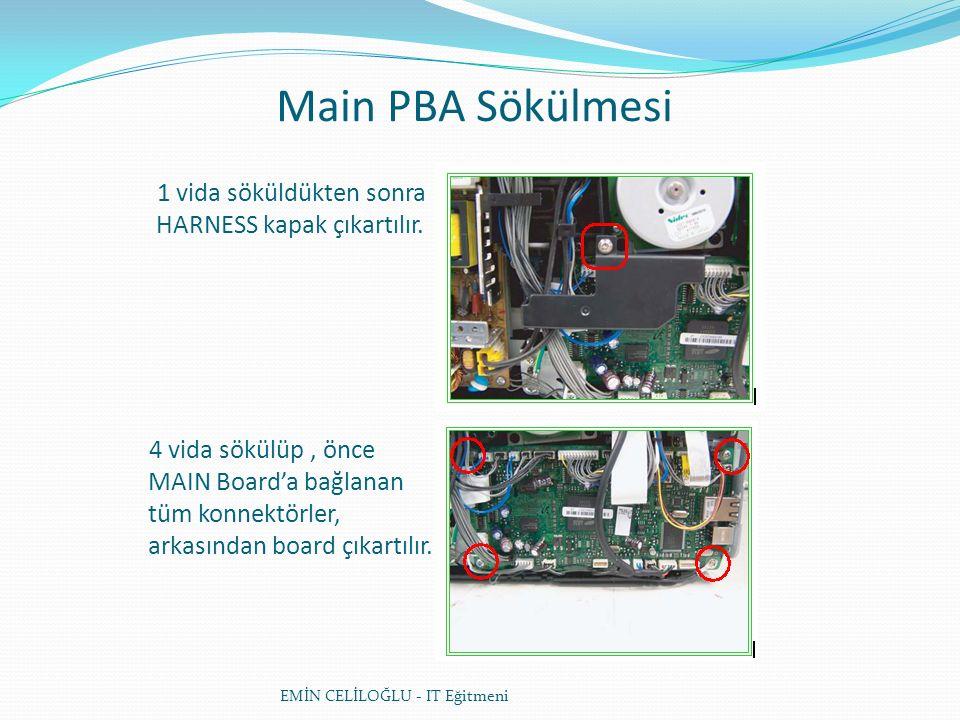 Main PBA Sökülmesi EMİN CELİLOĞLU - IT Eğitmeni 1 vida söküldükten sonra HARNESS kapak çıkartılır.