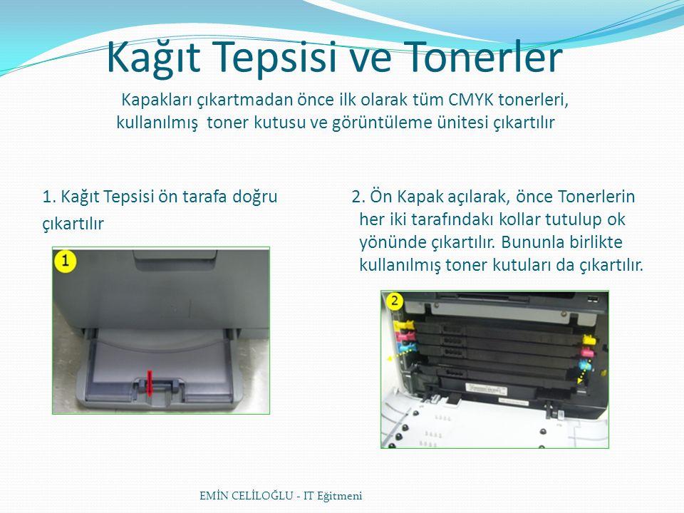 Kağıt Tepsisi ve Tonerler Kapakları çıkartmadan önce ilk olarak tüm CMYK tonerleri, kullanılmış toner kutusu ve görüntüleme ünitesi çıkartılır EMİN CELİLOĞLU - IT Eğitmeni 1.